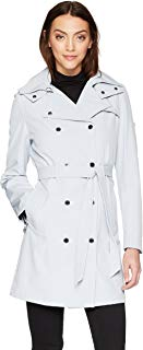 Calvin Klein Womens Double Breasted Rain Jacket with Hood Jacket