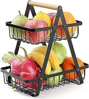 Corbeille à Fruits 2 étages, Panier à Fruits en Métal décoration Plan de Travail avec Manche en Bois pour Fruits, œufs, lé...