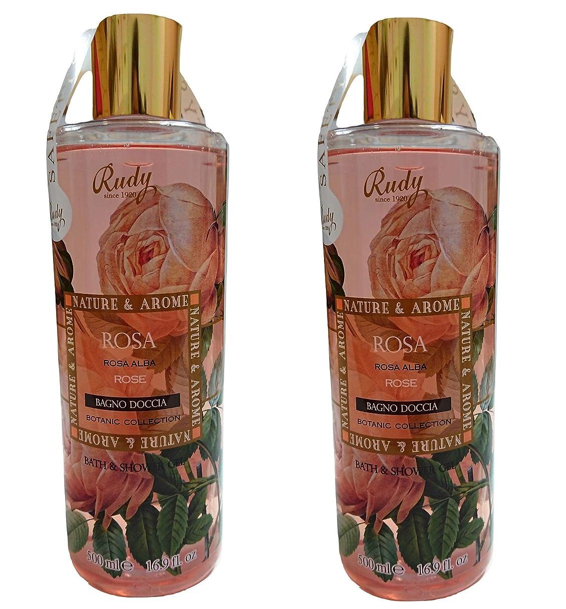 過敏な有名スノーケル(まとめ買い)RUDY Nature&Arome SERIES ルディ ナチュール&アロマ Bath&Shower Gel バス&シャワージェル ローズ (2本セット)
