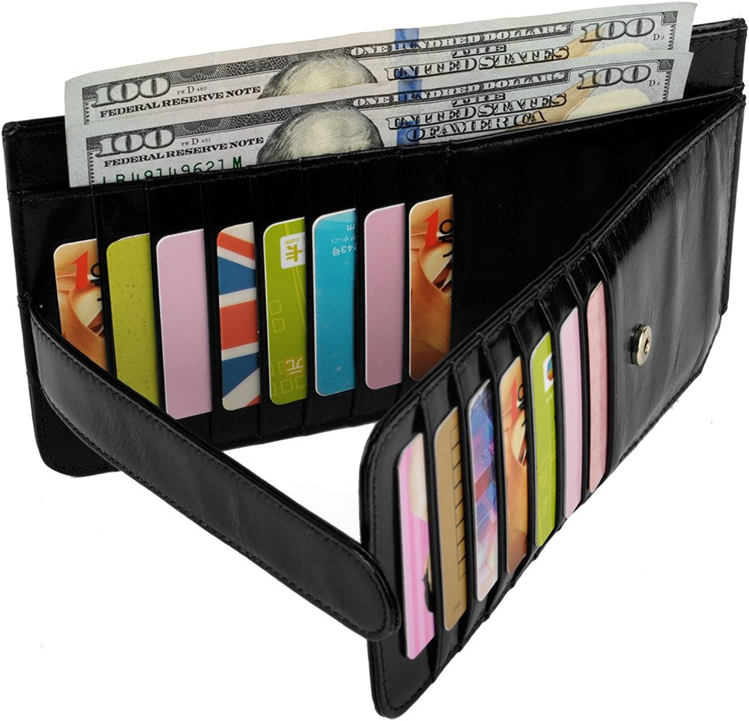 YALUXE Women's 22 Credit Card Case Slim Leather Wallet with Zipper Pocket