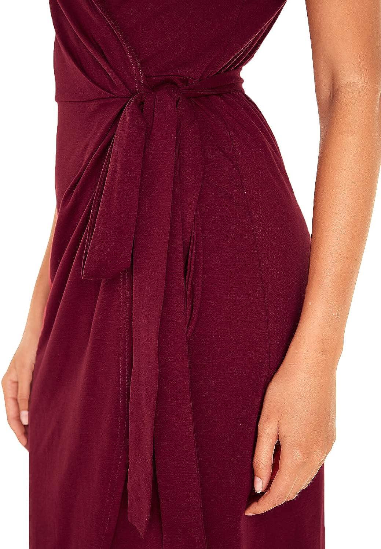Celmia Casual Wrapped Dresses Women Waist Tie Maxi Dress V Neck Short Sleeve Slit Dresses