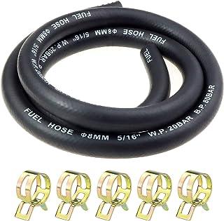 CYWVYNYT 5/16 inch Ø 8 mm brandstofgasleiding kit 1 meter benzineslang met 5 stuks slangklemmen voor boot marine gas diese...