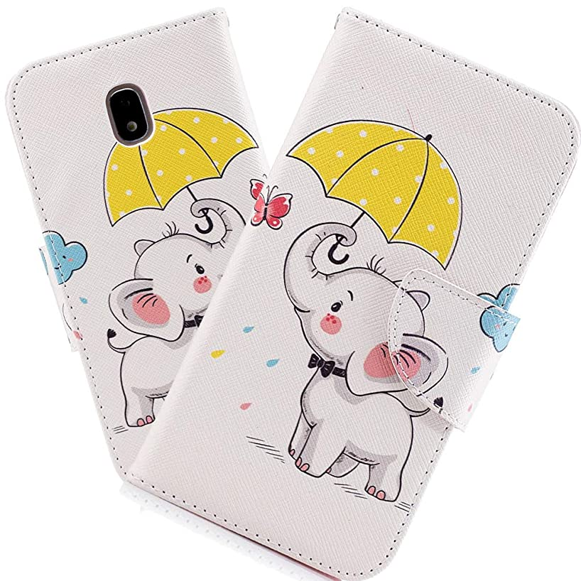 HMTECHUS J3 Pro Case Printing Flamingo Retro Panda Floral Wallet Folio Flip PU Leather with Stand Card Holder Slots Full-Body Protect Cover for Samsung Galaxy J3 Pro 2017 J330 Umbrella Dumbo BF