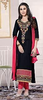 Black,Red Color Cotton A-Line suit