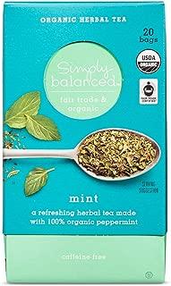 Simply Balanced Organic Herbal Tea Mint 0.85 OZ- 20 bags (One Pack)