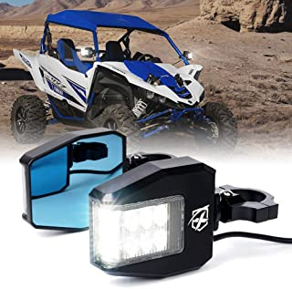 Xprite Offroad Side Rear View Mirrors Fit All UTV with 1.5-2 Inch Roll Bar Cage, Blue Anti-Glare Mirrors and Clear Lens LED Spot Light for Can am Maverick X3 Polaris RZR XP 1000 Yamaha SXS