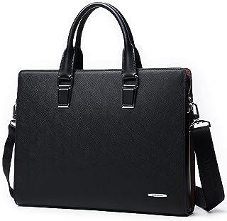 BOSTANTEN Formal Leather Briefcase Shoulder Laptop Business Bag for Men & Women