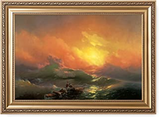 DECORARTS - The Ninth Wave by Ivan Konstantinovich Aivazovsky. The World Classic Art Reproductions. Giclee Print with Matching Museum Frame. 30x20, Finished Size: 36x26