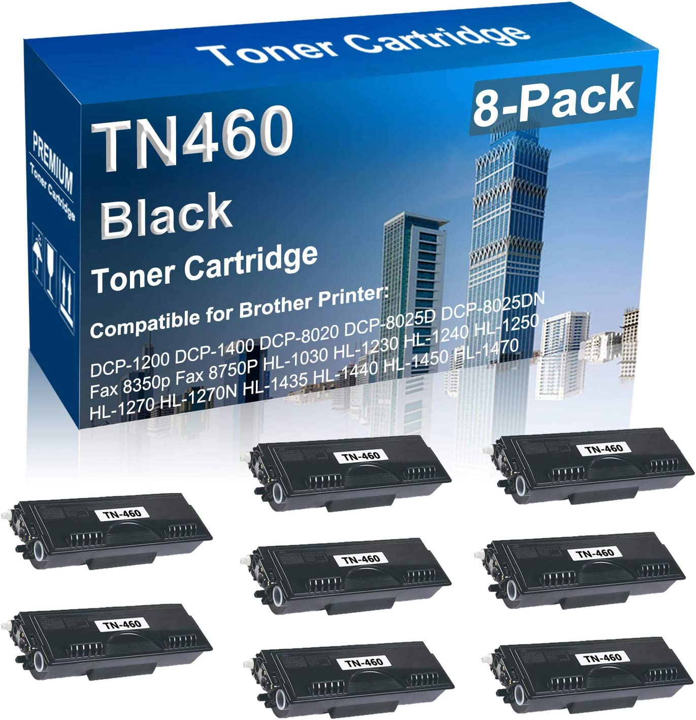 8-Pack Compatible Printer Tonere Replacement T for Nippon regular agency Brother TN460 trust