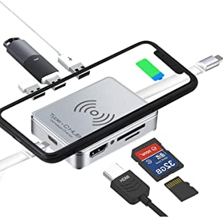 8 in 1 USB C Hub, Type C Adapter Wireless Charging Docking Station, Compatible for 2016/2017/2018 MacBook Thunderbolt 3 Po...