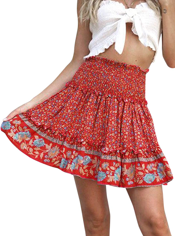 BerryGo Womens Boho Floral High Waist Ruffle A-line Mini Skirt