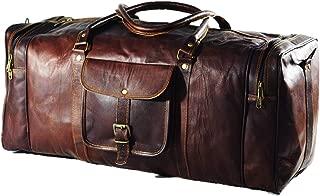 "Duffel Bag Genuine Vintage Brown Leather Goat hide 24"" Travel Luggage bag"
