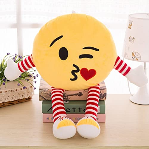Skylofts Cute 34cm Kissing Emoji Stuffed Smiley Cushion Pillow Soft Toy with Legs and Hands (Kissing Emoji), Yellow