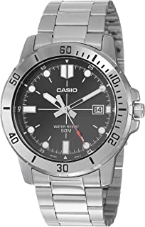 Casio Men's Black Dial Stainless Steel Band Watch - MTP-VD01D-1EVUDF