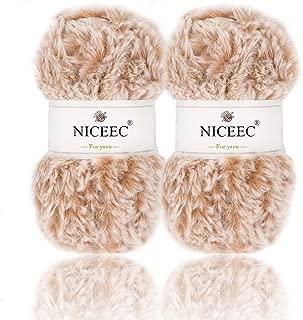 NICEEC 2 Skeins Super Soft Fur Yarn Chunky Fluffy Faux Fur Yarn Eyelash Yarn for Crochet Knit-Total Length 2×32m(2×35yds,50g×2)-Khaki