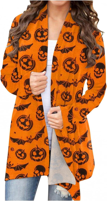 UOCUFY Halloween Cardigan for Women,Long Sleeve Open Front Cardigan Funny Cute Pumpkin Black Cat Ghost Lightweight Coat