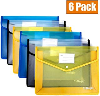 "[6 Pack] Plastic Folders with Closure and Pockets, TriMagic Expandable Envelope Wallet, 14.5""x11"", 2.8"" Expansion, Office Clear File Folder with Business Card Holder"