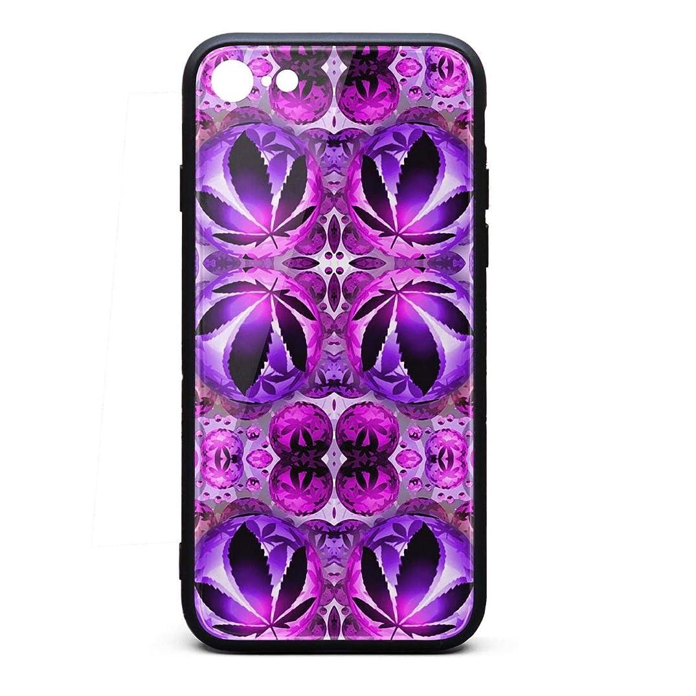 ZaiyuXio iPhone 6S Plus Case, iPhone 6 Plus Case Purple Marijuana Leaf Tempered Glass Back Cover Scratch-Resistant Anti-Slip Soft TPU Frame for iPhone 6 Plus/iPhone 6S Plus