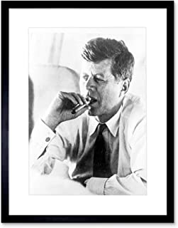 Vintage Photo President John Kennedy Smoke Cigar JFK Framed Art Print F12X1759