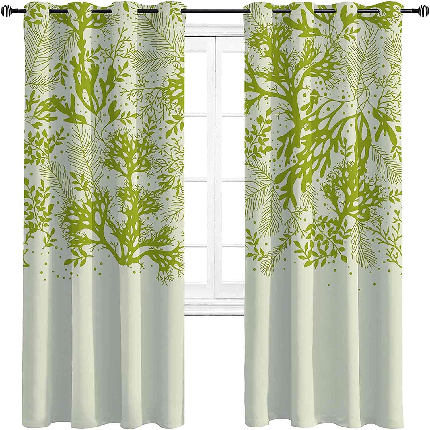 Green Max 85% OFF Bedroom Blackout Curtains Underwater Plants Ab Theme with Ranking TOP14