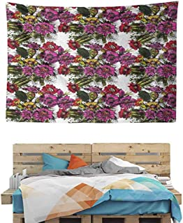 HuaWuChou Hand Drawn Floral Design Tapestry Artsy, Tapestries for Bedroom Living Room Dorm, 59W x 39.3L Inches