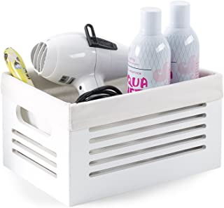 Wooden Storage Bin Container - Decorative Closet, Cabinet and Shelf Basket Organizer Lined with Machine Washable Soft Linen Fabric - White, Small