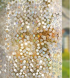rabbitgoo No Glue Privacy Window Film Decorative Window Film Static Cling Window Film Circles Pattern Glass Film for Home Kitchen Office Bedroom Living Room 17.5 x 78.7 inches