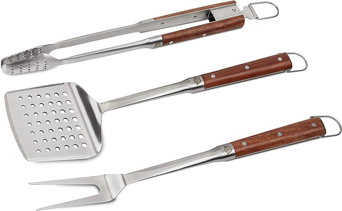 Pit Boss Grills 67298 Pit Boss 3 Piece Grill Stainless Steel With Rosewood Handles Includes Spatula Tongs And Fork BBQ Tool Set