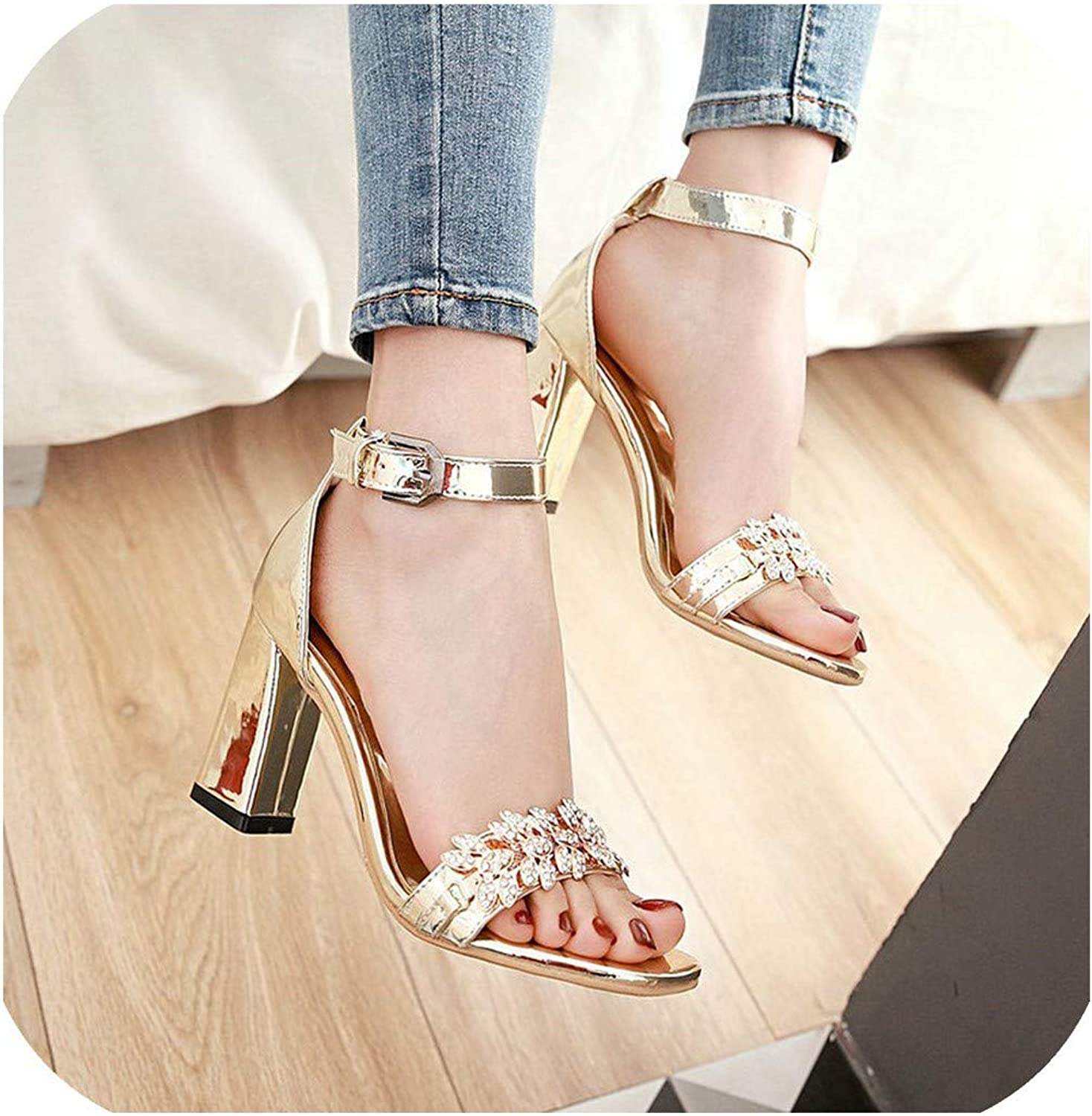 Summer Ankle Strap Thick High Heel with Buckle Sandals Crystal Open Toe Dress Women shoes