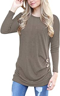 21be54ee6fdd9 MOLERANI Women s Casual Long Sleeve Round Neck Loose Tunic T Shirt Blouse  Tops