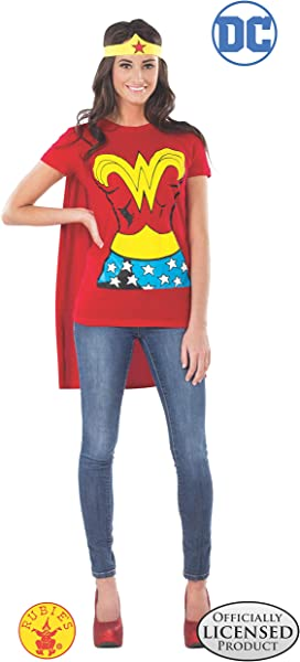 Rubie S Costume DC Comics Wonder Woman T Shirt With Cape And Headband Red