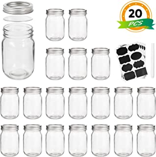 Mason Jars, Wide Mouth Canning Jars,12OZ Glass Jars With Regular Lids and Bands(Silver),Ideal For Jam,Honey,Wedding Favors,Shower Favors,Baby Foods,Set of 20
