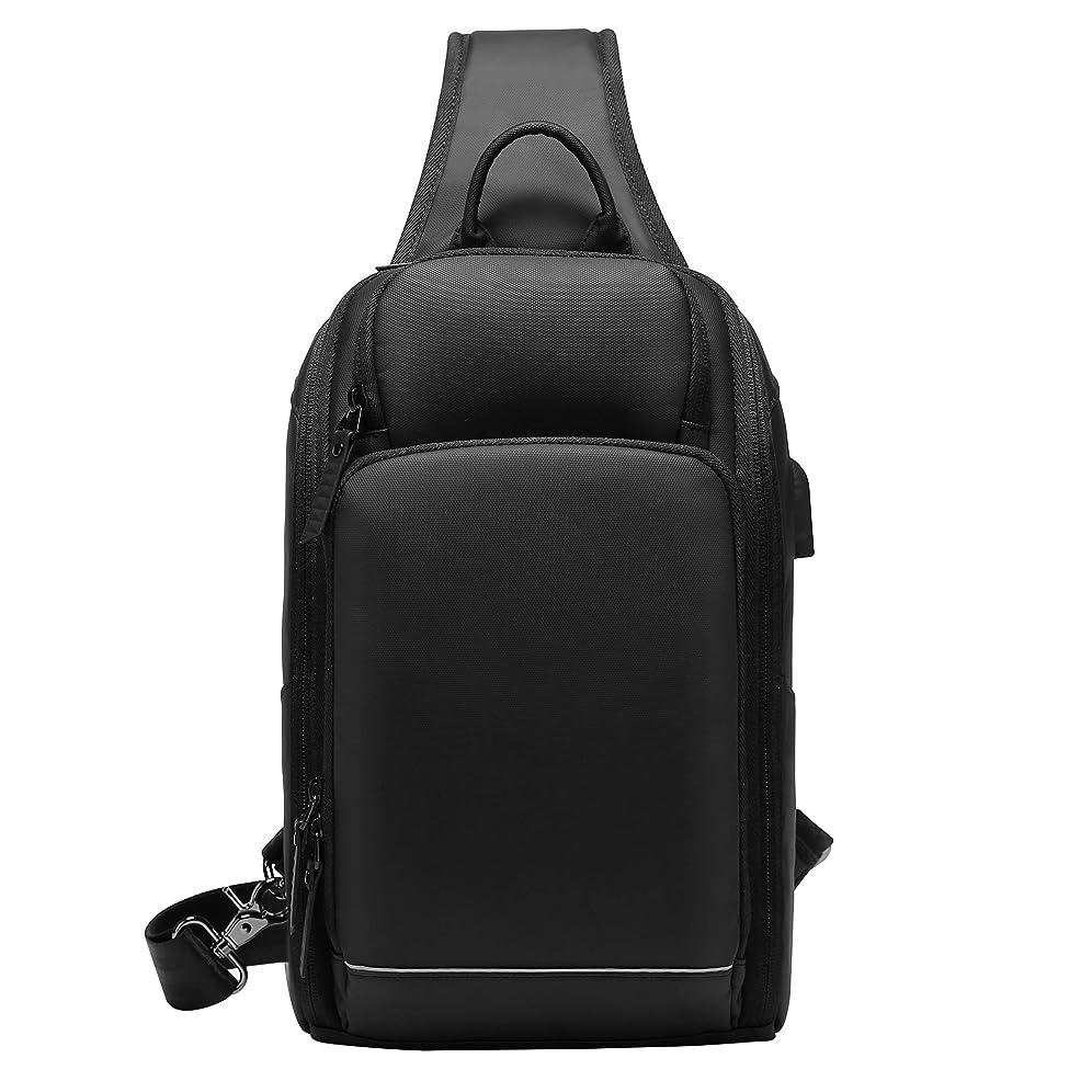 剥ぎ取る聖歌処方SUNOGE ボディバッグ ワンショルダーバッグ 斜め掛け ボディーバッグ IPad収納可 防水 USBポート メンズ レディース 通学 通勤