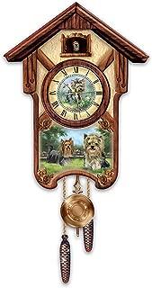 The Bradford Exchange Linda Picken's Youthful Yorkies Wooden Cuckoo Clock