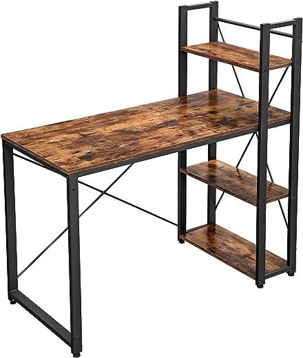 VASAGLE Schreibtisch, 120 cm Langer Computertisch mit Regalböden rechts oder Links, Bürotisch, Arbeitszimmer, Homeoffice, einfache Montage, stabil,…
