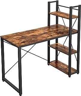 VASAGLE Bureau Informatique, Table d'ordinateur, Longueur 120 cm, avec étagères à Gauche ou à Droite, Stable, Montage Faci...