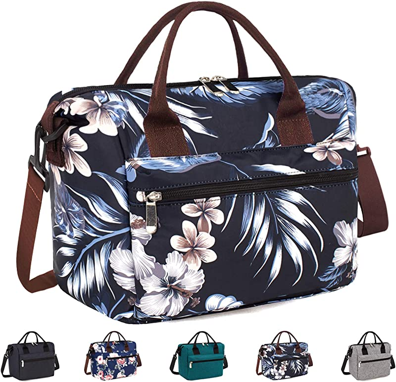 Insulated Lunch Bag Box With Adjustable Shoulder Strap Water Resistant Leakproof Cooler Bag Lunch Container For Women Men Work Picnic Black Flower