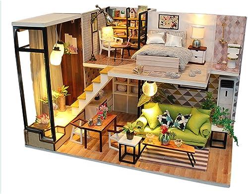 LINAG Puppenhaus H er Minipuppen Mini-Szene Zuhause Einrichtung Spielzeug M l DIY Village Zubeh Szenenspielzeug Geb emodell Villa Geburtstagsgeschenk