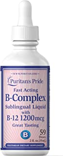 Puritan's Pride Liquid Vitamin B Complex Sublingual with Vitamin B-12-2 fl oz Liquid