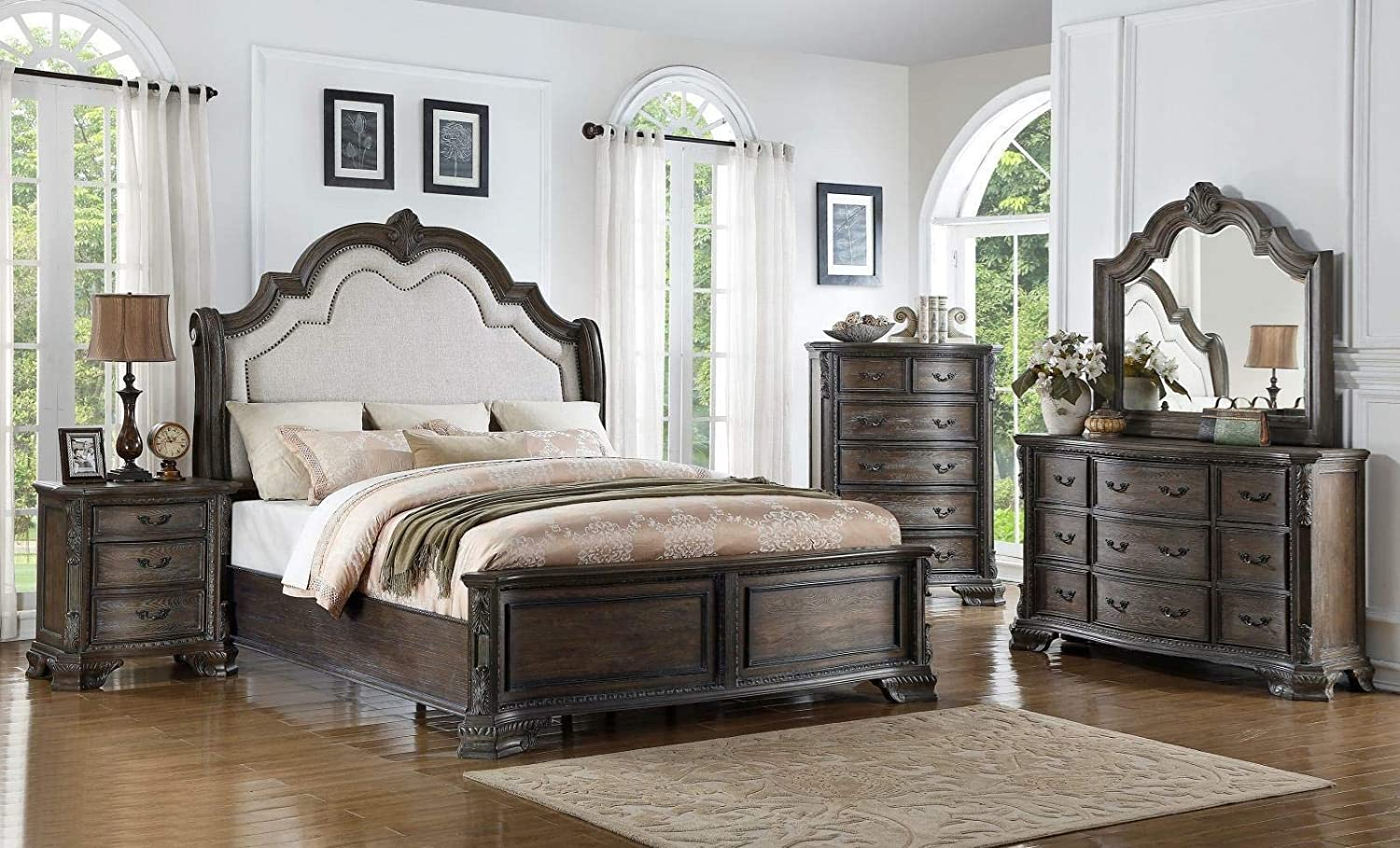 Traditional Design Uphlostered Headboard King Fashionable Dress Bed Size 6pc Max 41% OFF