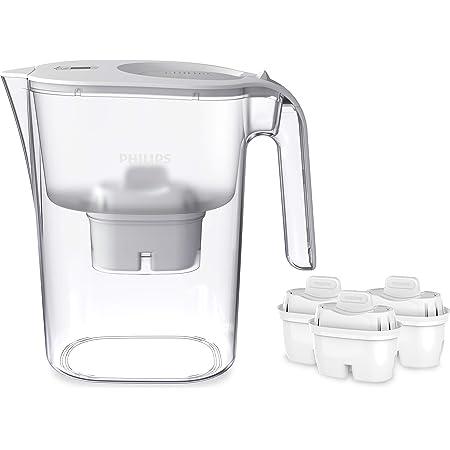 Phillips AWP2936 Carafe filtre à eau avec 3 cartouches Micro X Clean, Réduit le chlore et les microplastiques et PFOA, Eau filtrée avec grand goût et pureté, 3 litres, Blanc