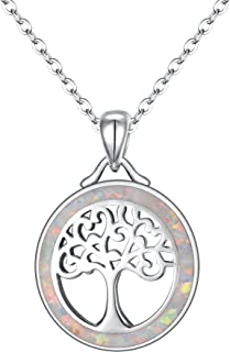 EVER FAITH 925 Sterling Silver White Opal Lucky Gemstone Tree of Life Pendant Necklace for Girls, Mom