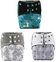 Sigzagor 3 AIll In One Night AIO Cloth Diapers Nappies Built In Charcoal Bamboo Insert Reusable Washable (Deer Pack)
