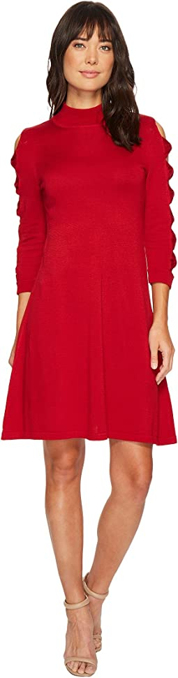 CeCe - Bow Sleeve Mock Neck Sweater Dress