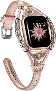 Wearlizer Rose Gold Leather Compatible with Apple Watch Bands 42mm 44mm for iWatch Womens Stylish Handmade Twist Strip Strap Vintage Metal Rivet Rope Dressy Wristband (Silver Clasp) Series 5 4 3 2 1