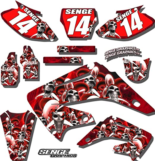 compatible with Honda 2019-2020 CRF 450RX /& 2019-2020 CRF 250RX Works Red Complete Graphics Kit with RIDER I.D. CUSTOMIZABLE Senge Graphics Kit with RIDER I.D