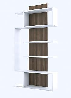 Bravo Book Organizer, Melamine, White JKK.BC.18.01_White/Walnut-1