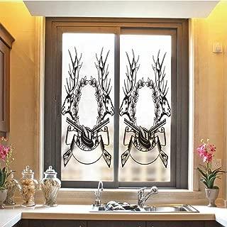 Hunting Decor 3D No Glue Static Decorative Privacy Window Films, Elk Heads Oak Wrath and Crossed Guns with Label Huntsman Tattoo Art Design Decorative,17.7