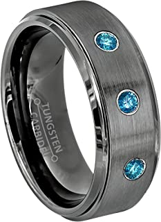 Jewelry Avalanche 0.21ctw Blue Diamond 3-Stone Mens Tungsten Ring - April Birthstone Ring - 8MM Brushed Gunmetal (Dark Gray) Mens Tungsten Carbide Wedding Band, Anniversary Ring