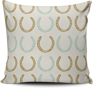 Salleing Custom Fashion Home Decor Pillowcase Equestrian Themed Horse Shoes Pattern Square Throw Pillow Cover Cushion Case 18x18 Inches One Sided Print